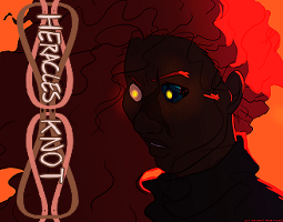 """Cropped illustration of a young black man with dark skin and a large scar down the middle of his face, curving along his brow, nose, and left cheek. he stares wide-eyed into the lower left corner. His eyes are yellow and glowing, but the left eye has dark blue and black patterns instead of normal white. He has long red hair, and his back is to the light source, casting most of him in shadow. He wears a black turtleneck. Background is orange, high contrast between shadow and light. On the left, horizontal, is a pink-brown heracles knot logo with the words """"HERACLES KNOT"""" on it in white outlined in brown."""